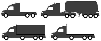 Lorry with tank and body truck collection. Set isolated lorry with tank and body truck silhouette Stock Photos