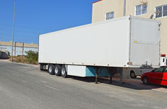 A Lorry Trailer. A box trailer from an articulated lorry royalty free stock image