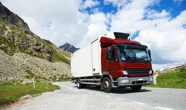 Lorry with trailer driving mountain road Royalty Free Stock Photography