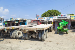 Lorry transports huge marble stones. PADANGANJ, INDIA - OCTOBER 21: lorry transports huge marble stones from the pit on highway 7 to resellers all over india on Royalty Free Stock Photo