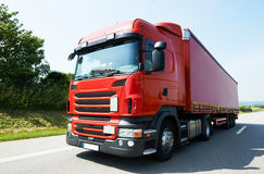 Lorry truck on highway road Stock Photos