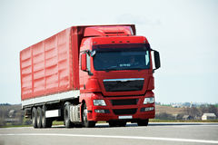 Lorry truck on highway road Royalty Free Stock Photos