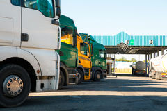 Lorry trucks cars. In traffic jam at border zone custom royalty free stock images