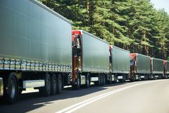 Lorry trucks in traffic jam Stock Photography