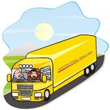 Lorry. Two drivers drive a truck. In the background is a landscape Royalty Free Stock Images