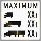 Lorry Weight Limits In Canada. Weight restrictions for lorries in Canada - X to be replaced by limits. This sign is used in Quebec Stock Images