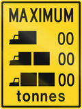 Lorry Weight Limits In Canada. Weight restrictions for lorries in Canada - zeros to be replaced by limits. This sign is used in Ontario Stock Image