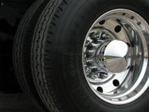 Lorry wheel. Close up of lorry wheel and double tyres Stock Photo