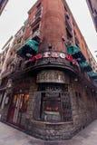 Los壁角窗口Caracoles餐馆位于哥特式区 免版税库存照片
