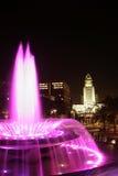 Los Ángeles céntrico en la noche Imágenes de archivo libres de regalías