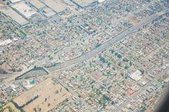 Los Ángeles céntrico, opinión de ojo de pájaro en el día asoleado Imágenes de archivo libres de regalías