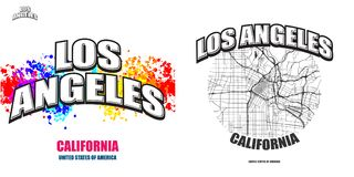 Los Ángeles, California, dos ilustraciones del logotipo stock de ilustración