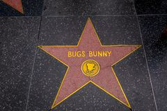 Los Ángeles, California, los E.E.U.U., JUNIO, 15, 2018: Estrella del ` s de Bugs Bunny en el paseo de la fama, Los Ángeles de Hol fotos de archivo libres de regalías