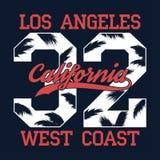 Los Ángeles, California - numere la impresión para la camiseta con la hoja de la palmera Gráfico de la tipografía de la costa oes Imagen de archivo