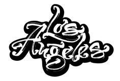 Los Ángeles sticker Letras modernas de la mano de la caligrafía para la impresión de la serigrafía fotos de archivo libres de regalías