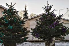 Los árboles de navidad comercializan con el árbol principal de Navidad en Vilna Imágenes de archivo libres de regalías