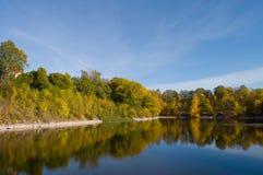 Los árboles del otoño reflejaron en agua Imagenes de archivo