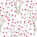 Los árboles del vector con el corazón se van, modelo inconsútil Fotografía de archivo libre de regalías