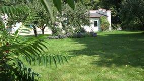 Los árboles frutales, camas de flor crecen en yarda de la casa del jardín de la albañilería 4K almacen de metraje de vídeo