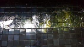 los árboles reflejaron imagen en parte inferior acabada teja de la piscina fotos de archivo