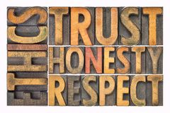 Los éticas, confianza, honradez, extracto de la palabra del respecto en el tipo de madera Fotografía de archivo