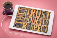 Los éticas, confianza, honradez, extracto de la palabra del respecto en el tipo de madera Imagenes de archivo