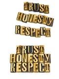 Los éticas del respecto de la honradez de la confianza Imagen de archivo libre de regalías