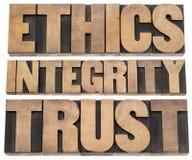 Los éticas, integridad, confianza Imagen de archivo