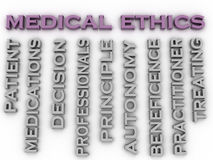 los éticas médicos de la imagen 3d publican el fondo de la nube de la palabra del concepto Foto de archivo libre de regalías