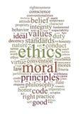 Los éticas y nube de la palabra de los principios Foto de archivo libre de regalías