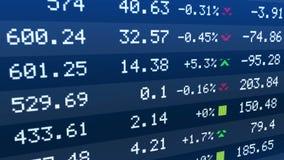 Los índices de la bolsa de acción suben y caen en la exhibición del teletipo, datos del mercado de seguridades stock de ilustración