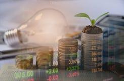 Los índices financieros de la acción de la exposición doble con la pila acuñan Imagen de archivo