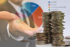 Los índices financieros de la acción de la exposición doble con la pila acuñan Imagen de archivo libre de regalías