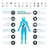 Los órganos humanos médicos y el icono médico fijaron con el cuerpo humano Imágenes de archivo libres de regalías