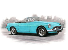 Los años 70 del automóvil descubierto del MGB Foto de archivo