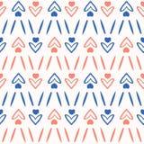 los años 50 diseñan el modelo inconsútil del vector del corazón retro del amor Textura dibujada mano ilustración del vector