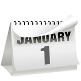 Los Años Nuevos de calendario del día dan vuelta a la paginación el 1 de enero Foto de archivo libre de regalías