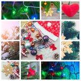 Los Años Nuevos de collage festivo con una guirnalda, la Navidad juegan, árbol de navidad se encienden Fotos de archivo libres de regalías