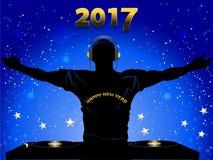 Los Años Nuevos de DJ 2017 siluetean y fondo de las cubiertas de registro stock de ilustración