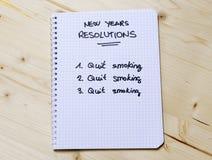 Los Años Nuevos de resolución abandonaron el fumar Foto de archivo