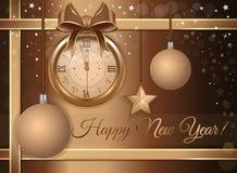 Los Años Nuevos diseñan con un reloj de la antigüedad del oro stock de ilustración