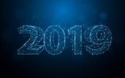 Los Años Nuevos 2019 forman líneas, triángulos y diseño del estilo de la partícula libre illustration
