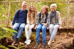 Los abuelos y las adolescencias se sientan en el puente en el bosque, integral Fotos de archivo libres de regalías