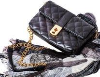 Los accesorios de las mujeres: bolso y bufanda Fotografía de archivo libre de regalías