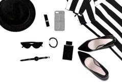 Los accesorios de las mujeres en superior, elegante, las cosas de las mujeres de la moda foto de archivo libre de regalías