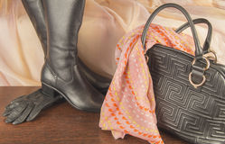 Los accesorios de las mujeres, guantes, bolso, zapatos, bufanda Para las mujeres elegantes Foto de archivo