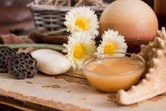 Los accesorios del balneario con el jabón, cuenco con la manzanilla secada florecen, pedazo de A de jabón blanco, jabón marrón lí Imagen de archivo