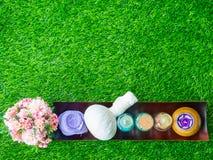Los accesorios del balneario friegan para la piel sano en césped verde Imagenes de archivo