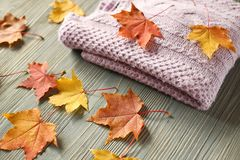 Los accesorios del otoño hicieron punto los suéteres y las hojas Imagen de archivo libre de regalías
