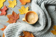 Los accesorios del otoño hicieron punto los suéteres y las hojas Fotografía de archivo libre de regalías